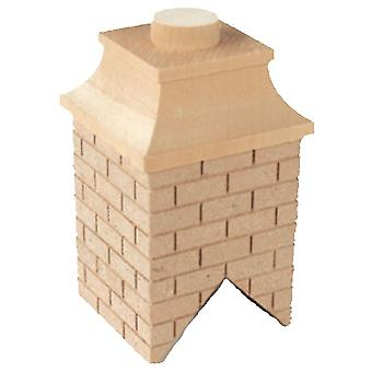 Dolls House Square Wooden Brick Chimney Diy Builders Miniature 1:12 Scale