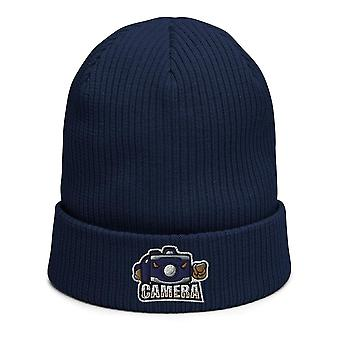 Camera mascot - Biological ribbed beanie photographer