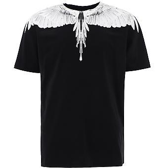 Marcelo Burlon Cmaa018r21jer0011001 Men's White/black Cotton T-shirt