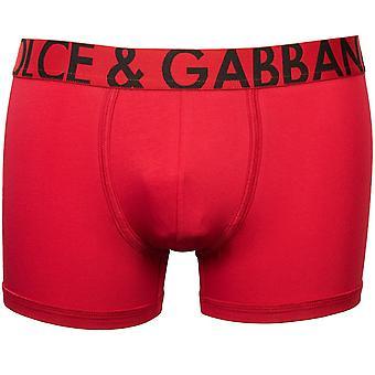 Dolce & Gabbana Översize Logo Linning Pima Bomull Boxer Trunk, Bordeaux Röd