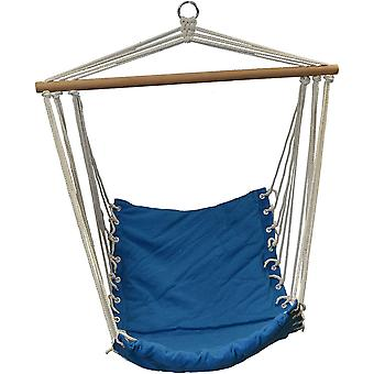 Hangstoel blauw 90x50 cm - hangmat fauteuil met ingenaaid kussen