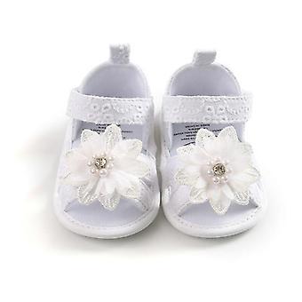 Sandali Baby Bow, Tacchi piatti Summer Flower Pearls Shoes