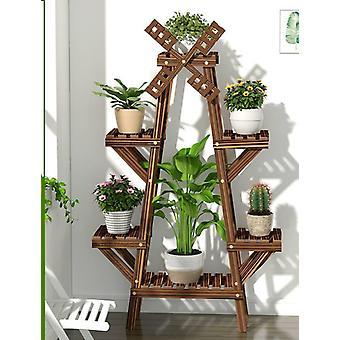 Vintage Wood Plant Stand Balcony Flower Pot Ladder Shelf Outdoor Garden Stand