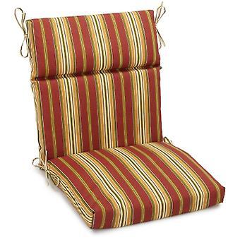 Coussin de chaise carrée extérieure en polyester de 18 pouces par 38 pouces - Kingsley Stripe Ruby