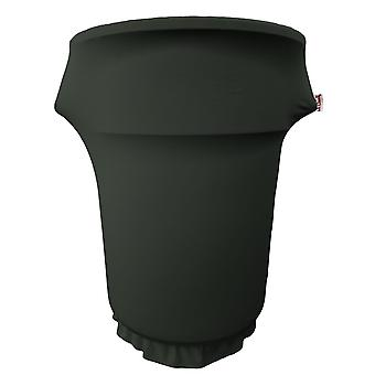 La Linen Spandex Cover Fitted For 55 Gallon Trash Can On Wheels, Black