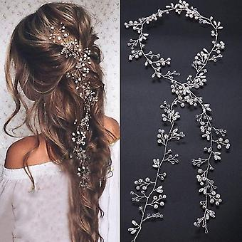 Bridal Rose Gold Extra Long Pearl And Crystal Beads Bridal Hair Vine Wedding Head Piece Bridal Hair Accessories (rose Gold)
