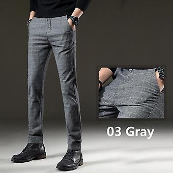 Pants Men, Casual Elastic Long Trousers, Male Cotton Plaid Work Pant, Men's