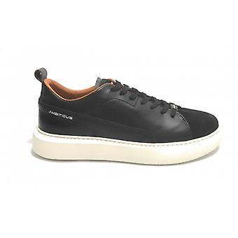 الرجال الطموح حذاء رياضي 10820 جلد / جلد الغزال الأسود U21am24