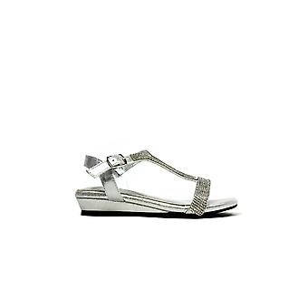 Low Wedge Glamour Silver Shoe