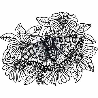Sweet Dixie Clear Stamps - Tortoiseshell Butterfly On Michaelmas Daisies