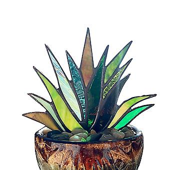 Suncatcher Stained Agave Plant Flower Pot Ornament  Home Handmade Craft For Garden Yard Outdoor