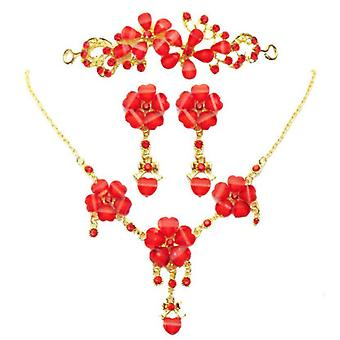 3pcs Bridal Red Tiara Set Necklace Crown Wedding Jewelry Hair Ornaments