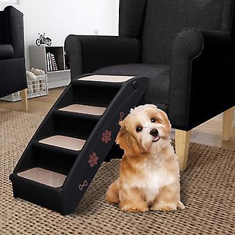 vidaXL الكلب الدرج للطي الأسود 62x40x49,5 سم