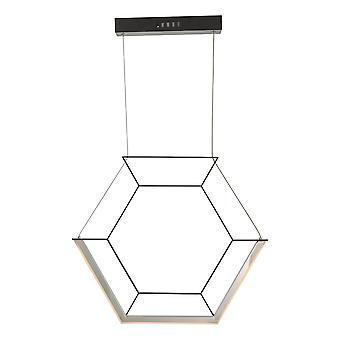 Hexagon Pendant Light Black LED, 1x LED