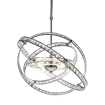 DAR ETERNITY Pendant Light Faceted Crystal and Polished Chrome, 10x G4