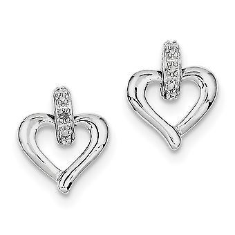 925 Sterling Silver Polished Post Earrings Love Heart Diamond Earrings Measures 15x12mm Wide Jewelry Gifts for Women