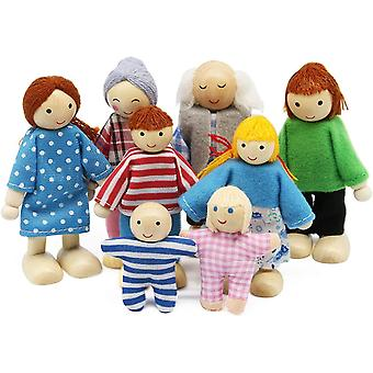 FengChun Puppenhaus Puppenfamilie Set, Holz 8 Personen Figuren Puppen Spielset fr Puppenhaus Zubehr