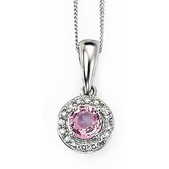 9 ct Gold Pink Sapphire And Diamond Necklace With