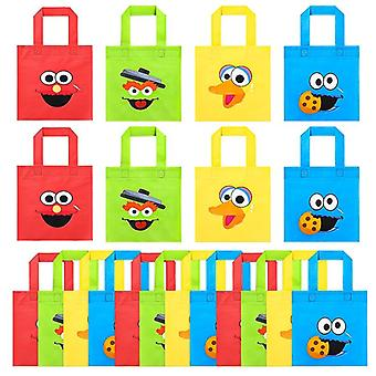 Sesame Non Woven Party Favor Bags, Monster Reusable Candy Treat Tote Bag With