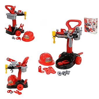 Polesie barn mekaniker sett 36612 verktøy trolley tang skrutrekker hjelm