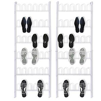 vidaXL Schuhregal für 18 Paar Schuhe 2 Stk. Stahl weiß