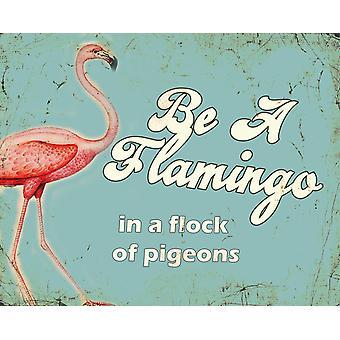 Vintage metalli merkki retro taide olla flamingo