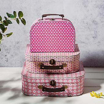 3 Storage Suitcases Daisy | Sass & Belle Box Decorative Cases Home Retro Gift