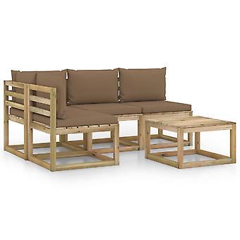 vidaXL 5-tlg. Garten-Lounge-Set mit Taupe Kissen