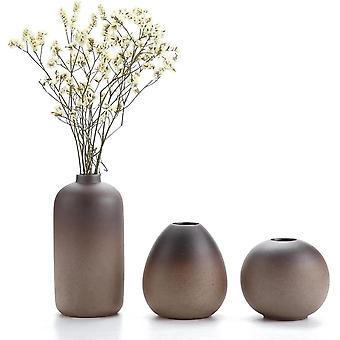 Keramik Blumenvasen Klein für Einzelblüten, Japanischer Stil Dekovasen 3er-Set