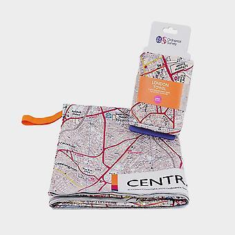New Ordnance Survey Central London Travel Towel White
