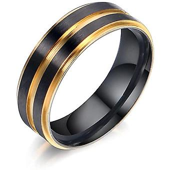 Fashion Lassa Electroplating Color Double Layer Rings Groove Men's Ring Sa1017