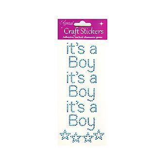 Pakke med 3 det ' s en gutt blå Jewel Letter klistremerker for baby shower håndverk
