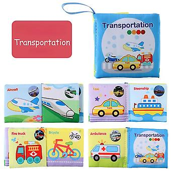 Infant Early Learning Educational Toys, Children's Fabric Book, 2-6 Years Old Children's English Cognitive Book-(transportation)