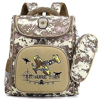Boys And Children's School Bag 1-6 Grade Backpack Camouflage Space Capsule Backpackkhaki