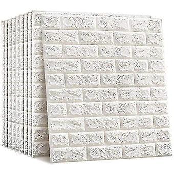 10 3d 77x70 Cm Self-adhesive Brick Waterproof White Wallpaper(White)