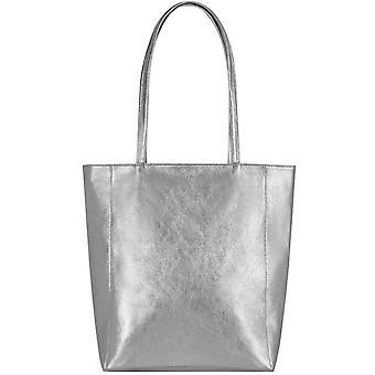 Silver Zip Top Läder Tote Shopper Väska