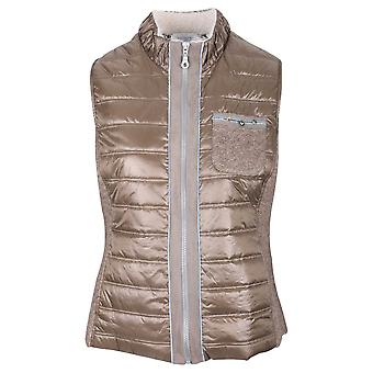 Just White Brown Sleeveless Quilted Gilet With Patch Pocket Detail