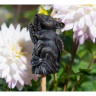 Cane Companions Harvest Mouse - Cane or Stake Topper - Antique Bronze Color