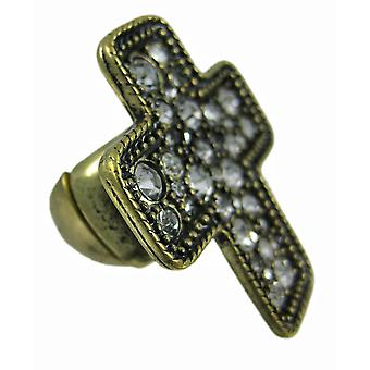 Rhinestone accent messing Christian Cross Stretch Ring