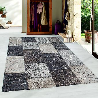 Patchwork Alfombra Lavable Antideslizante Hecha a Mano Gris