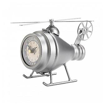 Accent Plus Vintage-Look Desk Clock - Silver Helicopter, Pack of 1