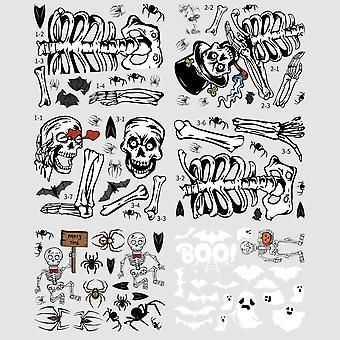 6Pcs/set halloween glass horror skull electrostatic sticker