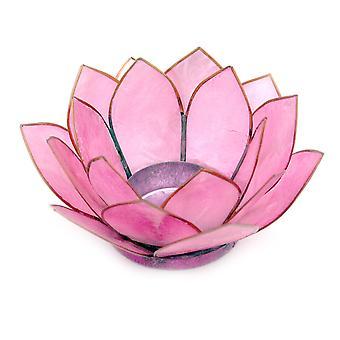 Light Pink Capiz Shell Lotus Flower Small Tealight Candle Holder