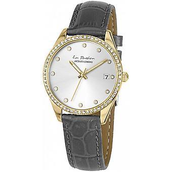 Reloj de mujer gris de cuero genuino LP-133K de Jacques Leman