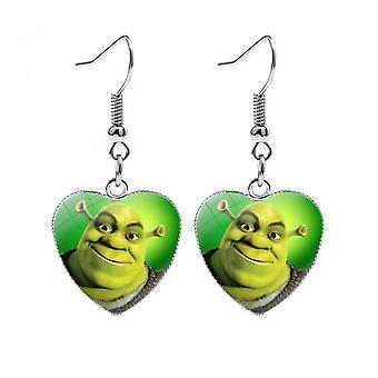 Uusi Shrek ja Fiona korvakorut tytöille sarjakuva söpö anime hahmo lasi kristalli sydän pudota korvakoru muoti korut