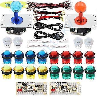 ألعاب الفيديو لوحات المفاتيح 2 اللاعبين جويستيكس عدة مع ممر led عصا التحكم 5v قاد أزرار USB رمز لوحة التحكم للعبة