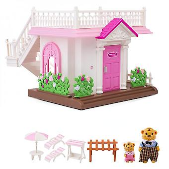 New Forest Family Pink House 1:12 Simulation Miniature Dollhouse Girl Gift