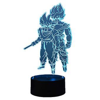 Kids Cadeau Anime Dragon Ball Kakarotto Son Goku Night Light Touch Sensor Chambre 3d Illusion Night Light Ledanime Lampe Colorée Télécommande Nuit L