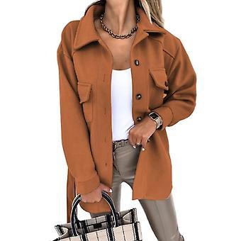 Nuevo abrigo corto de lana para mujer