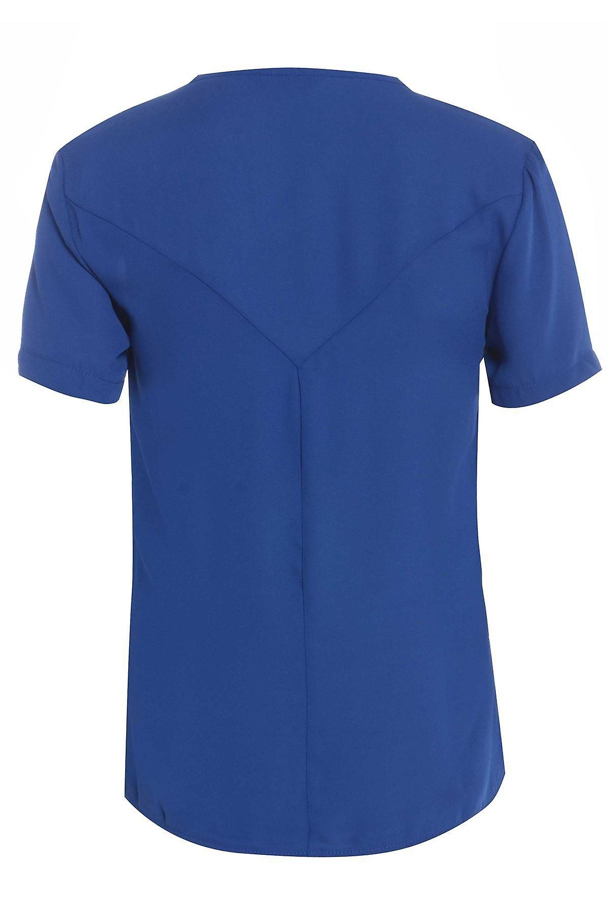 Blue Chiffon Tee With Shoulder Zip Detail TP550-10
